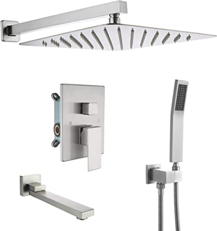Dobrass Shower System With Tub Spout Waterfall Shower Faucet Set Complete With Pre Embedded Valve Handheld Shower And 12 Inch Shower Head Wall Mounted Brushed Nickel