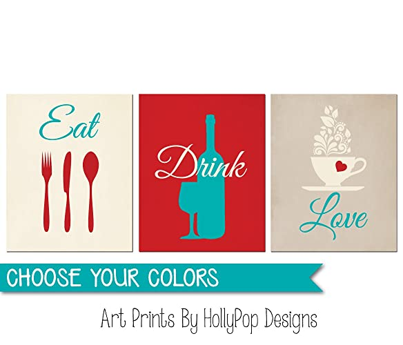 eat drink love red turquoise wall art red kitchen decor wine bottle art - Red Kitchen Decor