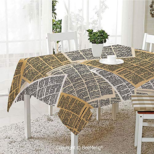 BeeMeng Spring and Easter Dinner Tablecloth,Kitchen Table Decoration,Old Newspaper Decor,Pages of Old Journals Magazines Columns Information Print Decorative,Light Brown White Black,59 x 83 inches ()