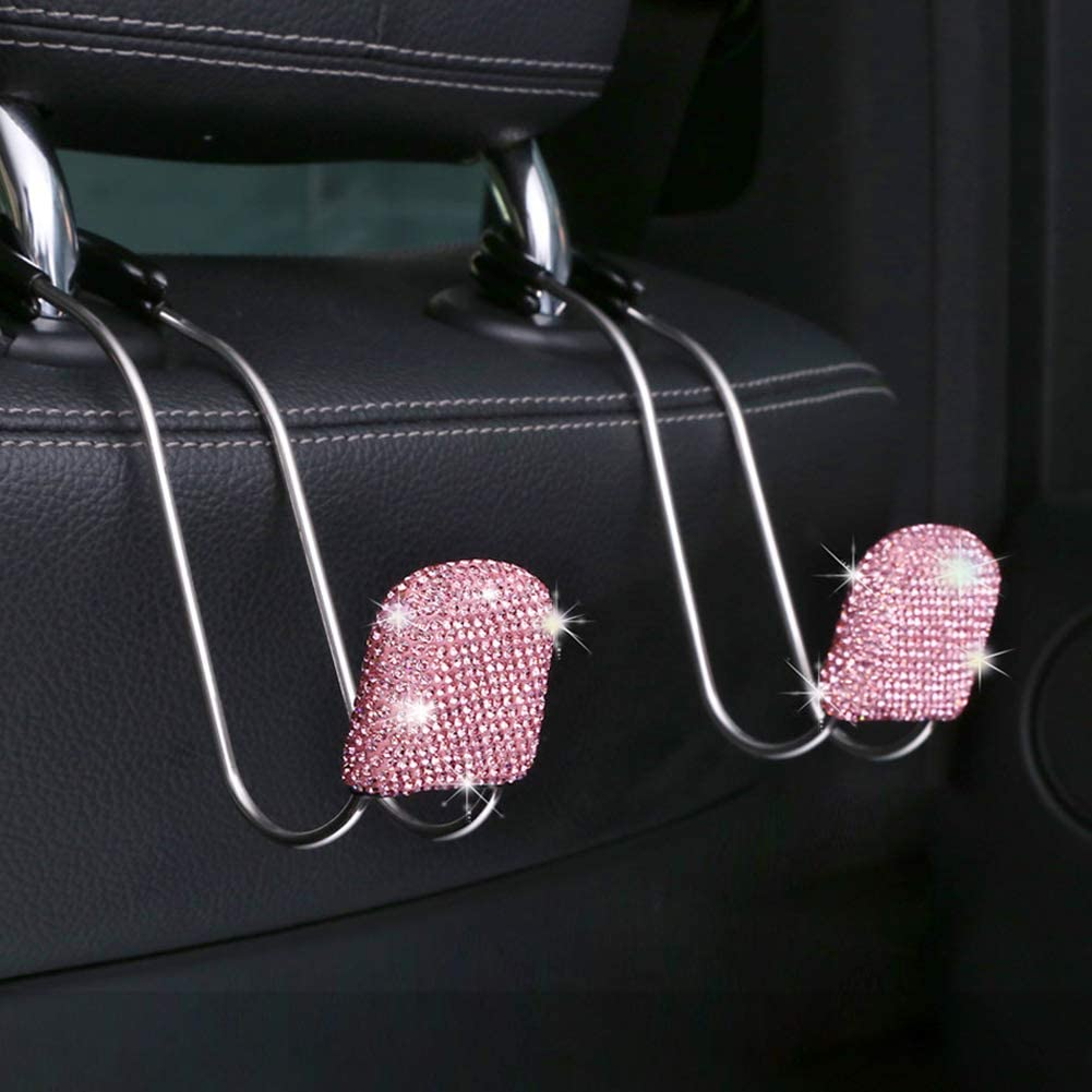 White 2Pcs Bling Car Headrest Hooks,Auto Backseat Metal Hanger Holder,Automotive Seat Back Organizer Storage for Purse,Handbag,Clothes,Umbrellas,Grocery Bags,Cute Car Accessories Interior for Women