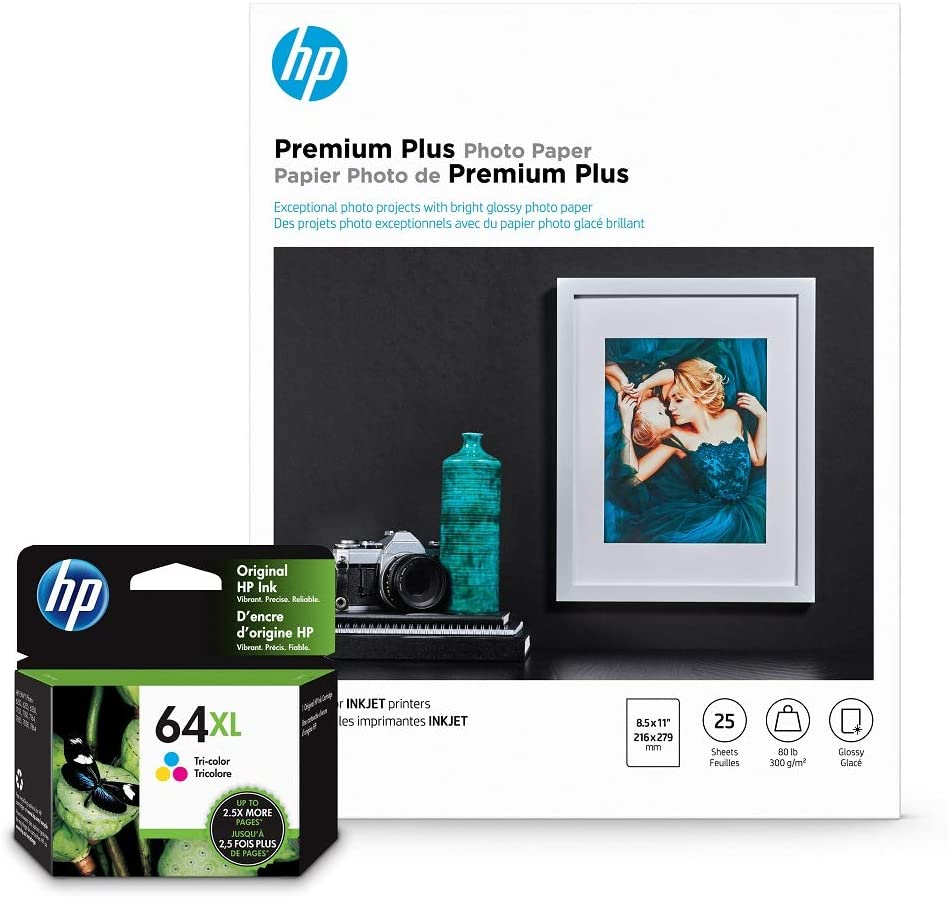 HP 64XL Tri-Color Inks + HP Premium Plus Photo Paper, Glossy, 25 Sheets, 8.5x11
