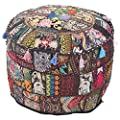 Indian Living Room Pouf, Foot Stool, Round Ottoman Cover Pouf,Traditional Handmade Decorative Patchwork Ottoman Cover Black Colour,Indian Home Decor Cotton Cushion Ottoman Cover 13x18''By MyCrafts