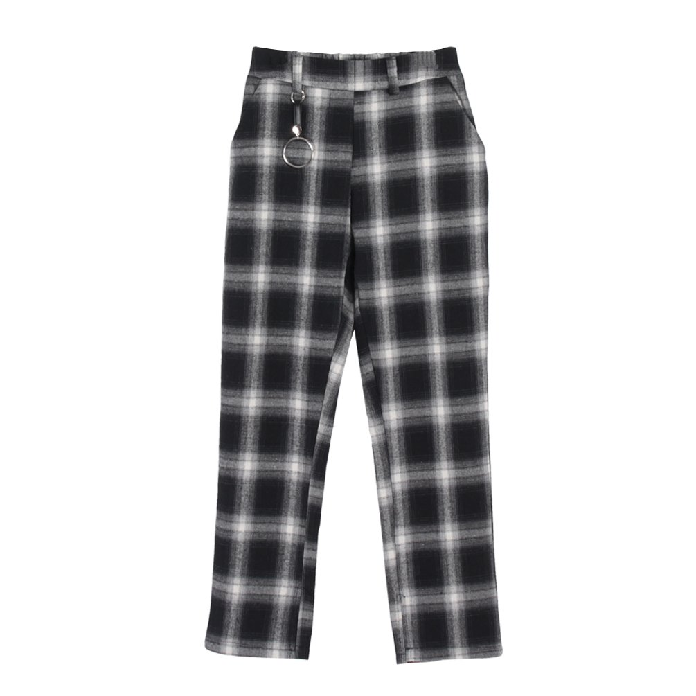 Towashine Women's Plaid Pants with Elastic High Waist Split Bottoms Ring Pocket Casual Soft