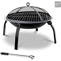 """Grillz 26"""" Outdoor Metal Fire pit Backyard Patio Garden Square Stove Fire Pit With Poker"""