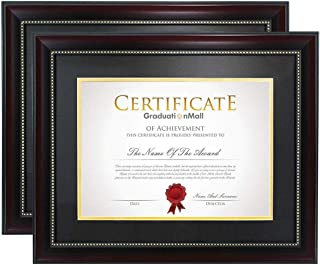 product image for flag connections 11x14 Diploma Frame for 8.5x11 Document/Certificate with Black Over Gold Double Mat|Real Glass|Mahogany with Gold Beaded 2-Pack