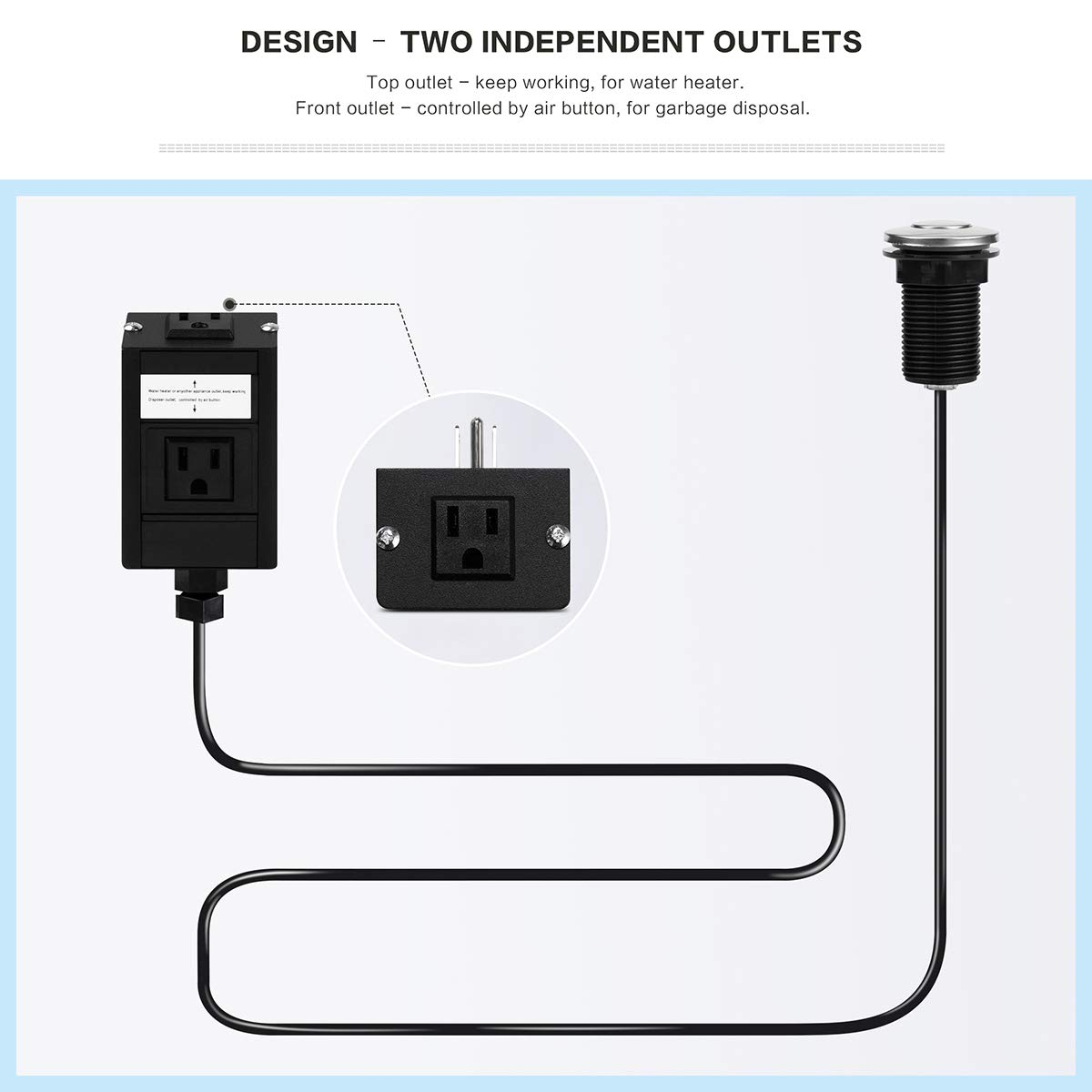 Sink Top Air Switch Kit Dual Outlet Turn On//Off Counter Top Air Switch Kit for Garbage Disposals with LONG POLISHED BUTTON