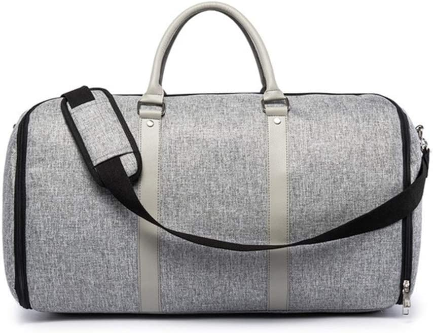 Color : Gray Gym Bag Fitness Bag Overnight Travel Handbag Lined Suit Storage Bag Sports Bag Weekend Cabin Carry Suitcase with Men and Women Independent Shoe Cabinet Travel Duffel Bag
