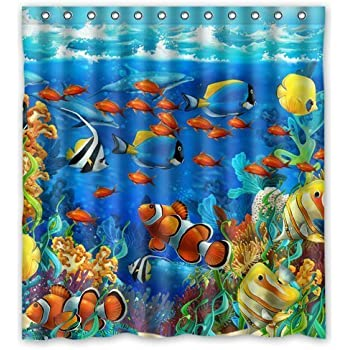 Sea seabed fish corals underwater ocean for Coral reef bathroom decor