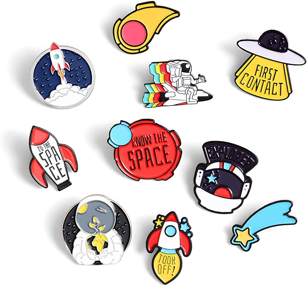 Cartoon Lovely Planet Space Collar Badge Corsage Brooch Jewelry Gift Pins QK