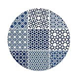 iPrint Polyester Round Tablecloth,Arabian,Arabesque Islamic Motifs with Geometric Lines Asian Ethnic Muslim Ottoman Element,Blue White,Dining Room Kitchen Picnic Table Cloth Cover,for Outdoor Indoor