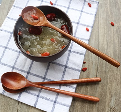 Wooden Spoons, 6 Pieces Wood Soup Spoons for Eating Mixing Stirring Cooking, Long Handle Spoon with Japanese Style Kitchen Utensil, ADLORYEA Eco friendly Table Spoon by ADLORYEA (Image #5)