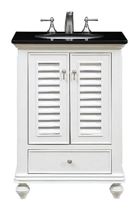 """Elegant Decor VF-1022 Single Bathroom Vanity Set, 25"""", Antique White/ - Amazon.com: Elegant Decor VF-1022 Single Bathroom Vanity Set, 25"""