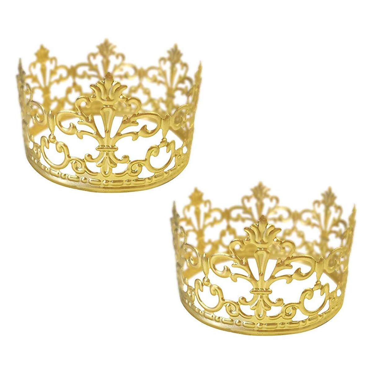 BESTONZON 2pcs Mini Cake Crown Topper/Princess Crown,Wedding Birthday Party Decoration(Gold)