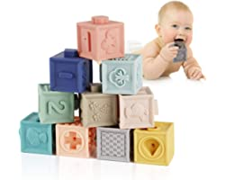 Mini Tudou Baby Blocks Soft Building Blocks Baby Toys Teethers Toy Educational Squeeze Play with Numbers Animals Shapes Textu