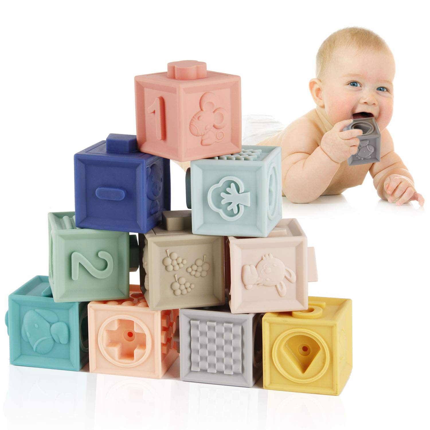 Mini Tudou Baby Blocks Soft Building Blocks Baby Toys Teethers Toy Educational Squeeze Play with Numbers Animals Shapes Textures 6 Months and Up 12PCS