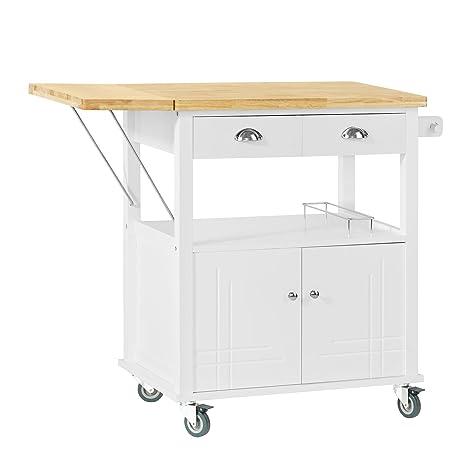 SoBuy® Mesa con Ruedas de Carro de Almacenamiento del gabinete rodante Servicio de Cocina,