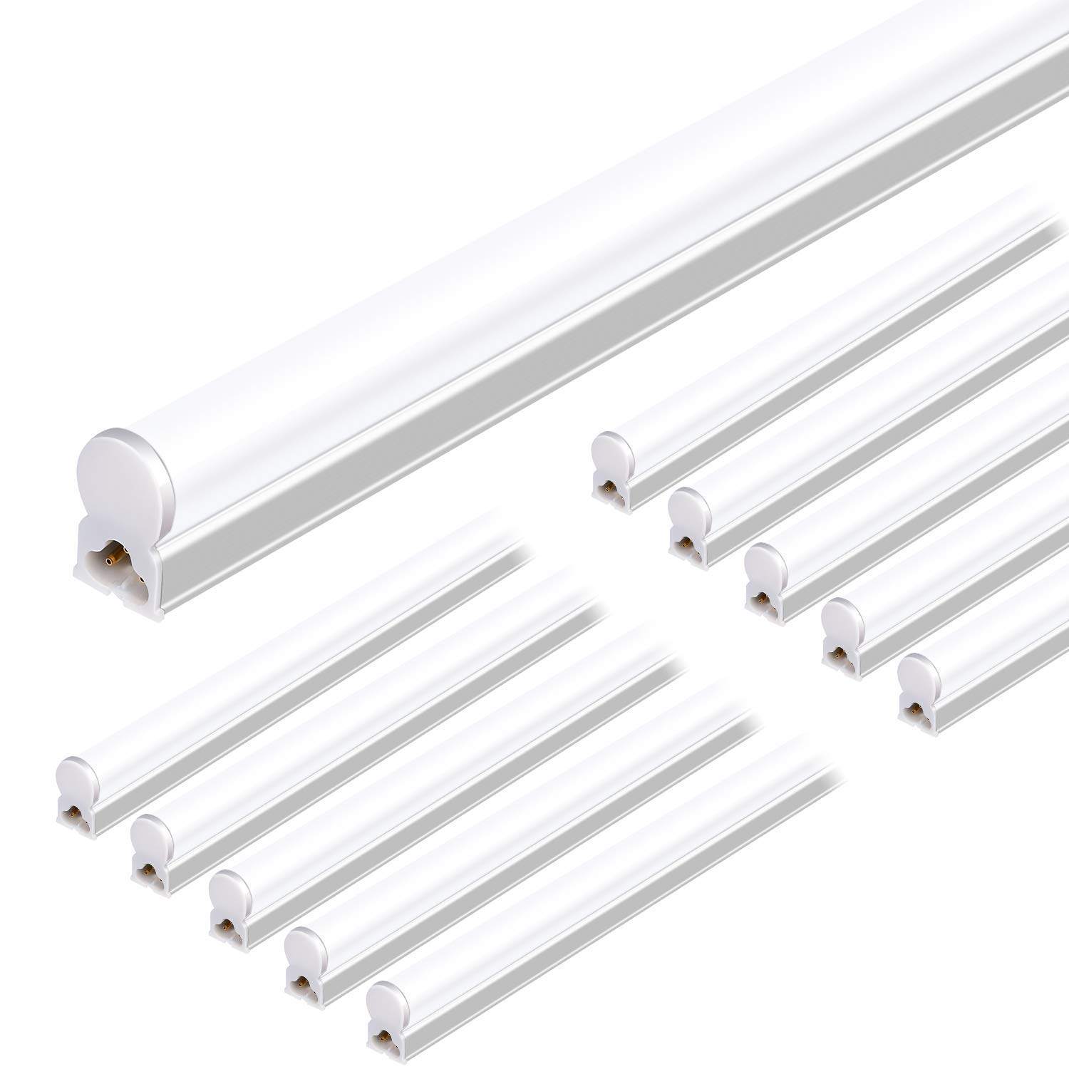 Hykolity Integrated LED T5 Single Light Fixture, 4FT, 22W, 2200lm, 5000K, Linkable LED Shop Light Ceiling Tube, Corded Electric with Built-in ON/Off Switch (10 Pack)