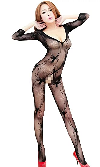 50cd3a0a27 Amazon.com  Kmety Lingerie Sexy Lady Crotchless Fish Net Body Stocking  Bodysuit Lingerie Nightwear  Clothing