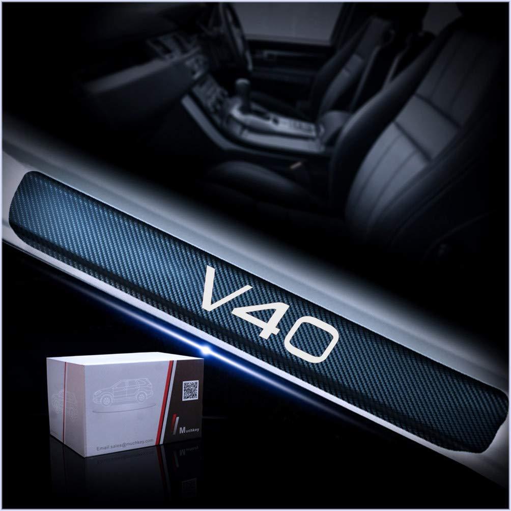 Maiqiken 4 Pezzi Auto Porta davanzale Adesivo Passo Decorazione Decalcomania della Copertura per V40 3D Blu in Fibra di Carbonio Stile
