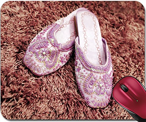 Liili Mousepad IMAGE ID: 920920 Pretty beaded slippers on thick wool carpet