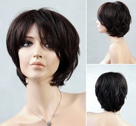 [Women's Short Bouffant Hair Wig with Sided-Swept Bangs (Dark Brown) by Ozone48] (Red Bouffant Wig)