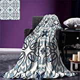 smallbeefly Ethnic Digital Printing Blanket Medieval Persian Palace Flower Leaf Shapes Arabian Inspired Motifs Artwork Print Summer Quilt Comforter Pale Blue