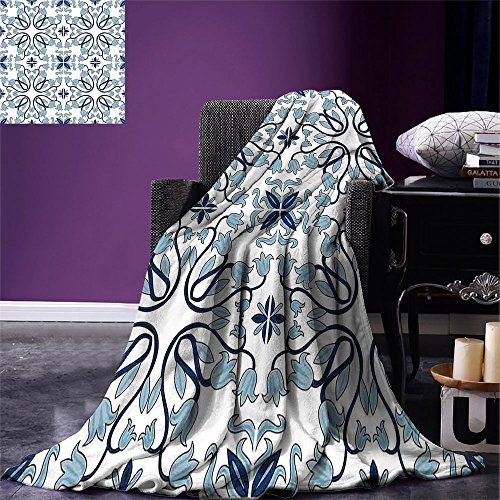 smallbeefly Ethnic Digital Printing Blanket Medieval Persian Palace Flower Leaf Shapes Arabian Inspired Motifs Artwork Print Summer Quilt Comforter Pale Blue by smallbeefly