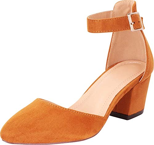 ebd29f21232c1 Cambridge Select Women's Closed Pointed Toe Strappy Ankle Chunky ...