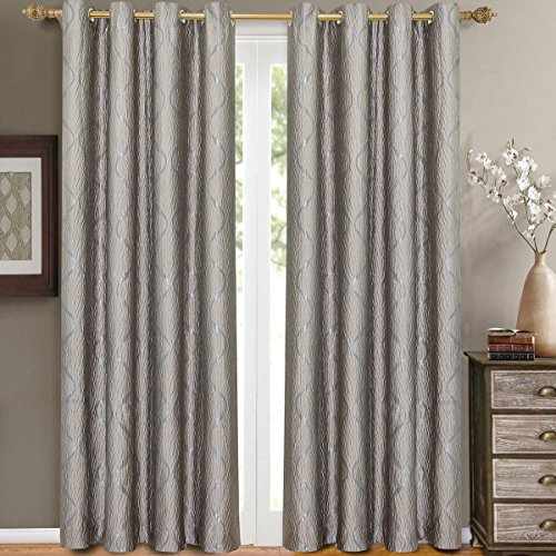 - Pair of Two Top Grommet Curtain Panels. A Meek Elegant and Contemporary Design Laguna Jacquard Draperies, Silver, Set of Two 52
