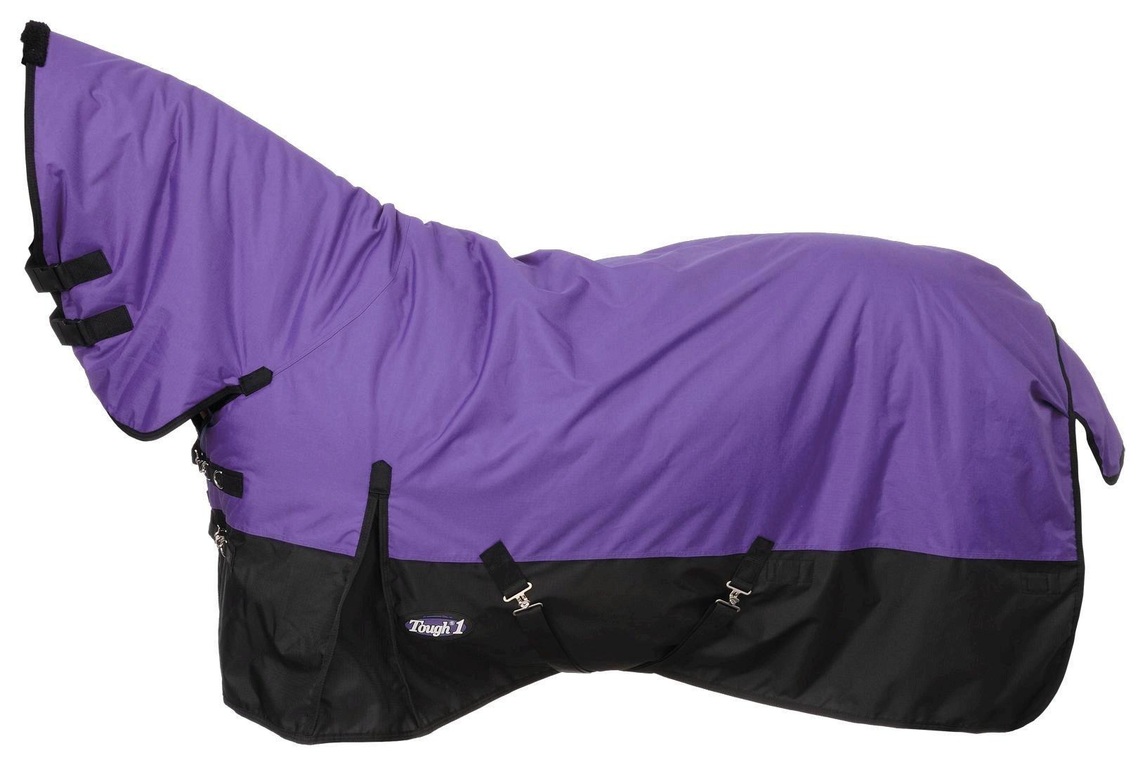 Tough 1 600D Waterproof Poly Full Neck Turnout Blanket, Purple, 69''