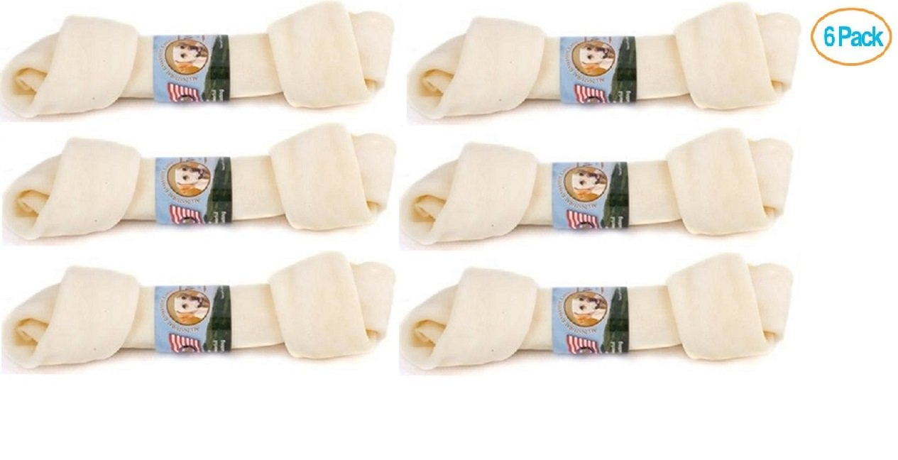 Wholesome Hide USA Beef Hide - Flat Knot Bone, 4'' - 5'' (Pack of 6)