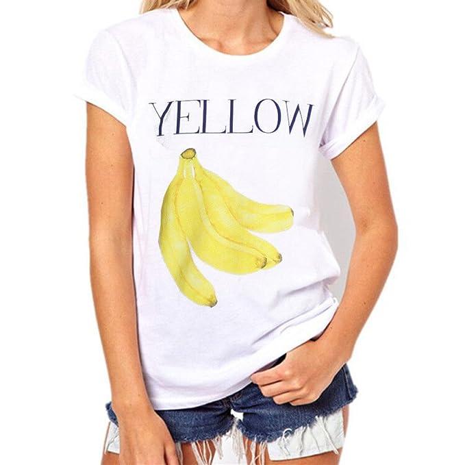 K-Youth® Camisetas Mujer Manga Corta Tumblr Casual Estampado de Letra de Fruta Blusas