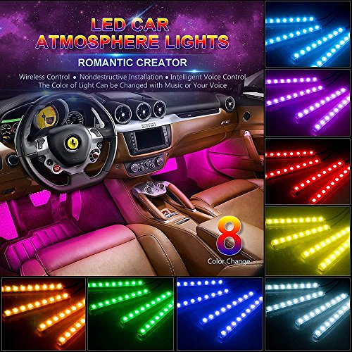 ip Light, 4pcs 48 LED Multicolor Music Car Interior Lights Under Dash Lighting Waterproof Kit with Sound Active Function and Wireless Remote Control, Car Charger Included, DC 12V ()