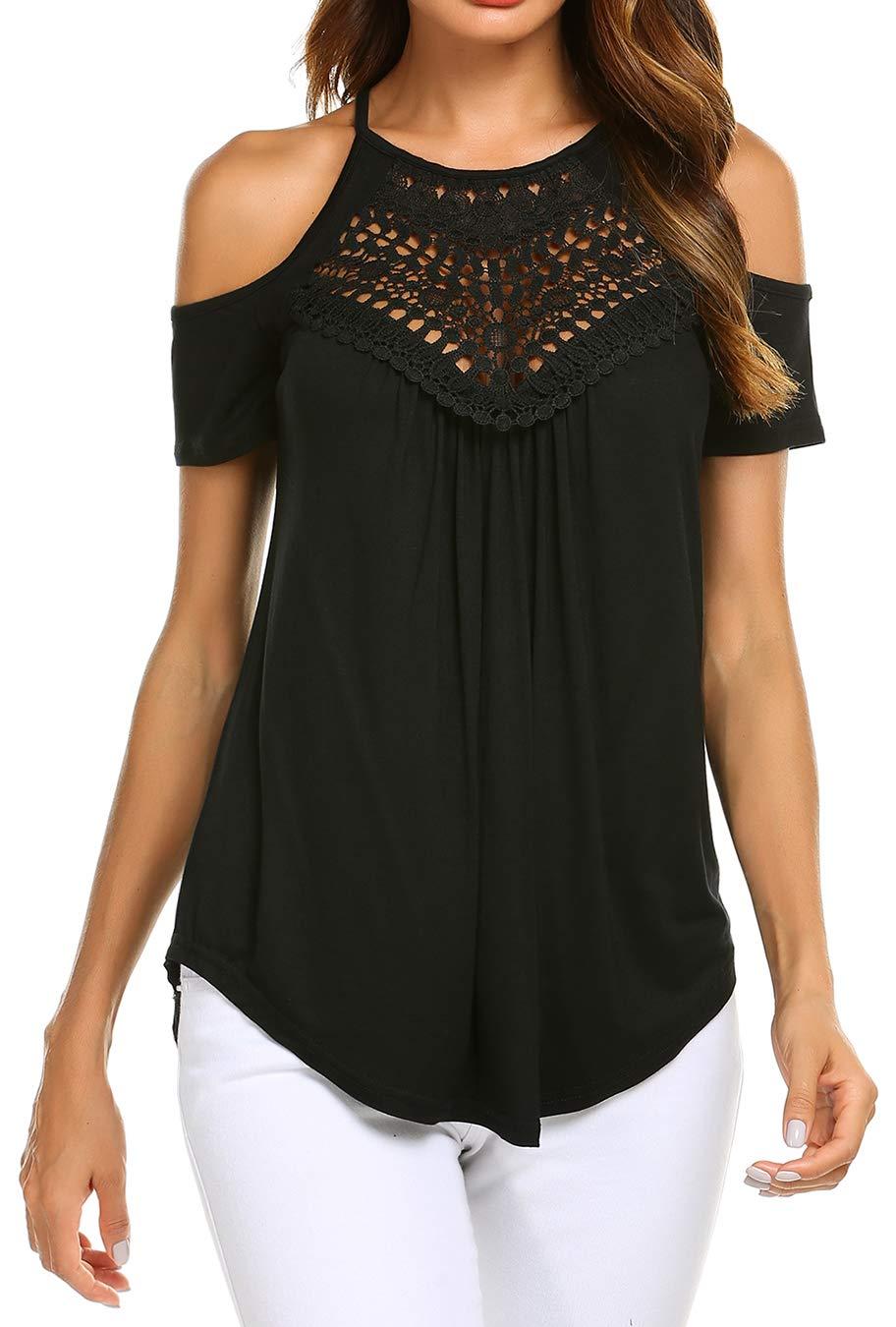 Women Casual Off Shoulder T Shirts Short Sleeve Spaghetti Straps Tunic Tops Black XL