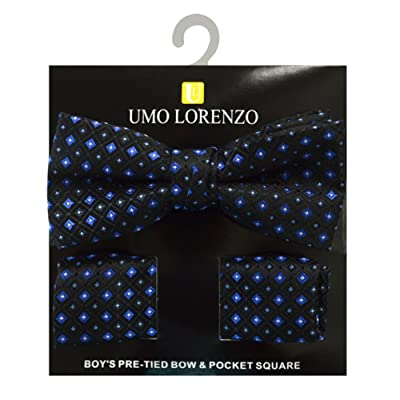 Boy's Geometric Polyester Woven Pre-Tied Banded Bow Tie & Pocket Square Set