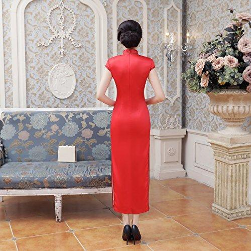Chinesisch Qipao Rot Frauen Bankett Lang Cheongsam Kleid Drucken Retro Blumen ACVIP Damen Bwx5Pqv88