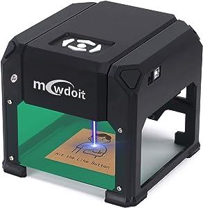 3000 m W Engraving Machine, Mcwdoit Desktop Engraver Wood Printer Working Area 7.5X7.5CM for DIY Logo