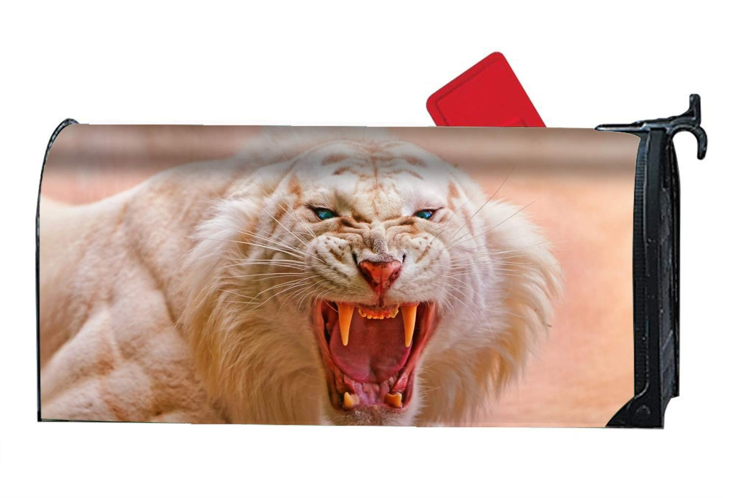 Verna Christopher Animal White Tiger Cats Siberian Albino Cat Printed Mailbox Covers Magnetic Mailbox Makeover