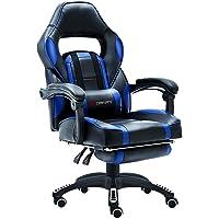 JL Comfurni Gaming Stuhl Bürostuhl Kunstleder Chefsessel Drehstuhl Ergonomischer Büro Lehnstuhl Computerstuhl Höhenverstellbarer Schreibtischstuhl mit Lordosenstütze und Gepolsterte Fußstütze