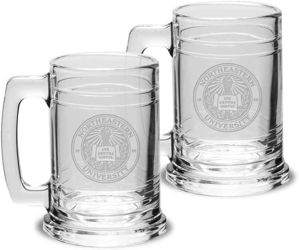 University Glass NCAA Unisex Collegiate 15 oz Colonial Tankard Set of 2