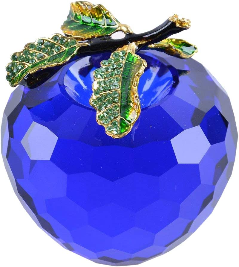 LONGWIN Faceted Crystal Apple Figurine 80mm (3.1 inch) Cut Faceted Glass Paperweight Blue
