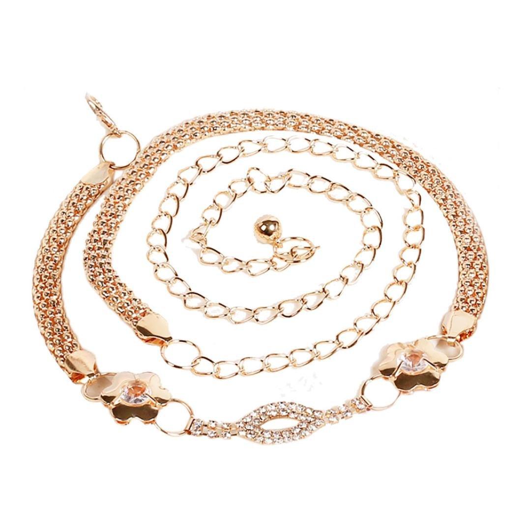 Kingfansion Womens Lady Fashion Metal Chain Pearl Style Belt Chain