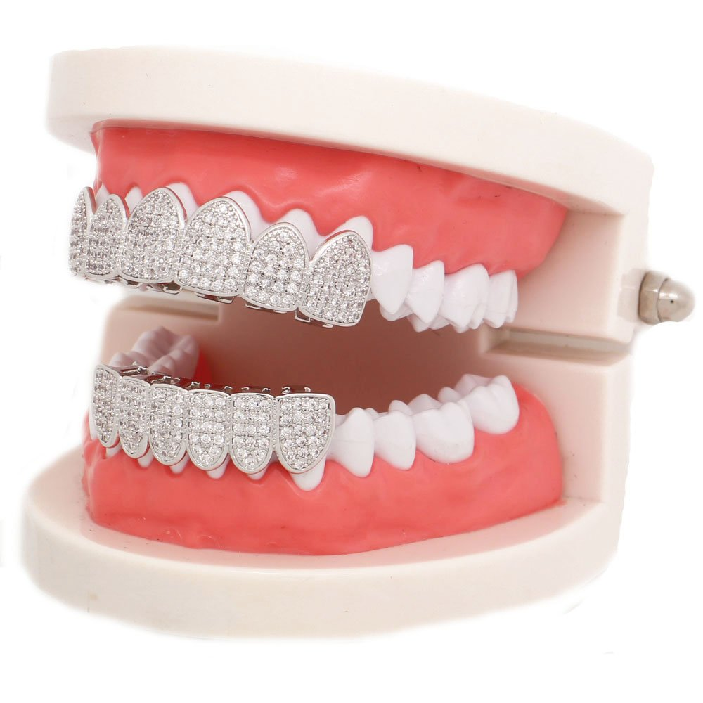 Lureen 14k Gold Silver Pave Full CZ Grillz 6 Top and Bottom Hip Hop Teeth Sets (Silver Set) by Lureen (Image #5)