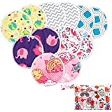 Asenappy reusable bamboo nursing pads 12 pcs+1 bag - for Breastfeeding or Pregnant Moms Washable & Reusable Nursing Pads (Ramdom color)