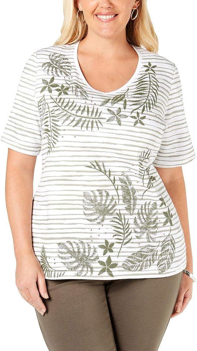 Karen Scott Womens Plus Striped Graphic T-Shirt