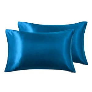 Love's cabin Silk Satin Pillowcase for Hair and Skin (Teal Blue, 20x40 inches) Slip King Size Pillow Cases Set of 2 - Satin Cooling Pillow Covers with Envelope Closure
