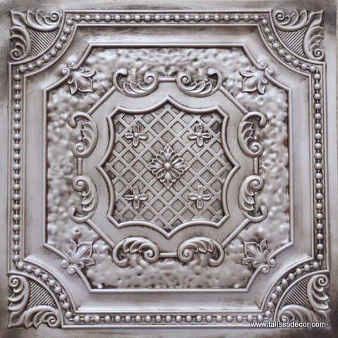Faux Tin Glue up/Drop in Ceiling Tile TD04 Antique White (Pack of 10 2'X2' Tiles ~ 40 sq.ft.) Easy to Install PVC Panels, Great for DIY Projects. Gorgeous Antique Vintage Look Ceilings 3D Wall Decor