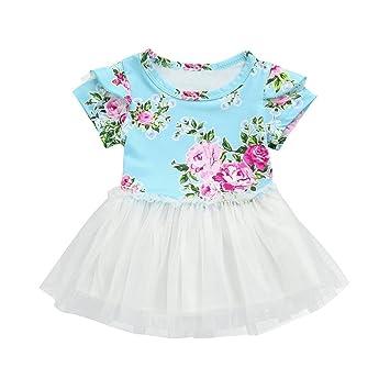 08ecfff7b238 Amazon.com  Infant Toddler Baby Girls Kids Floral Tutu Dress Cuekondy  Summer Casual Party Princess Dresses Sundress Skirt Clothes (18M