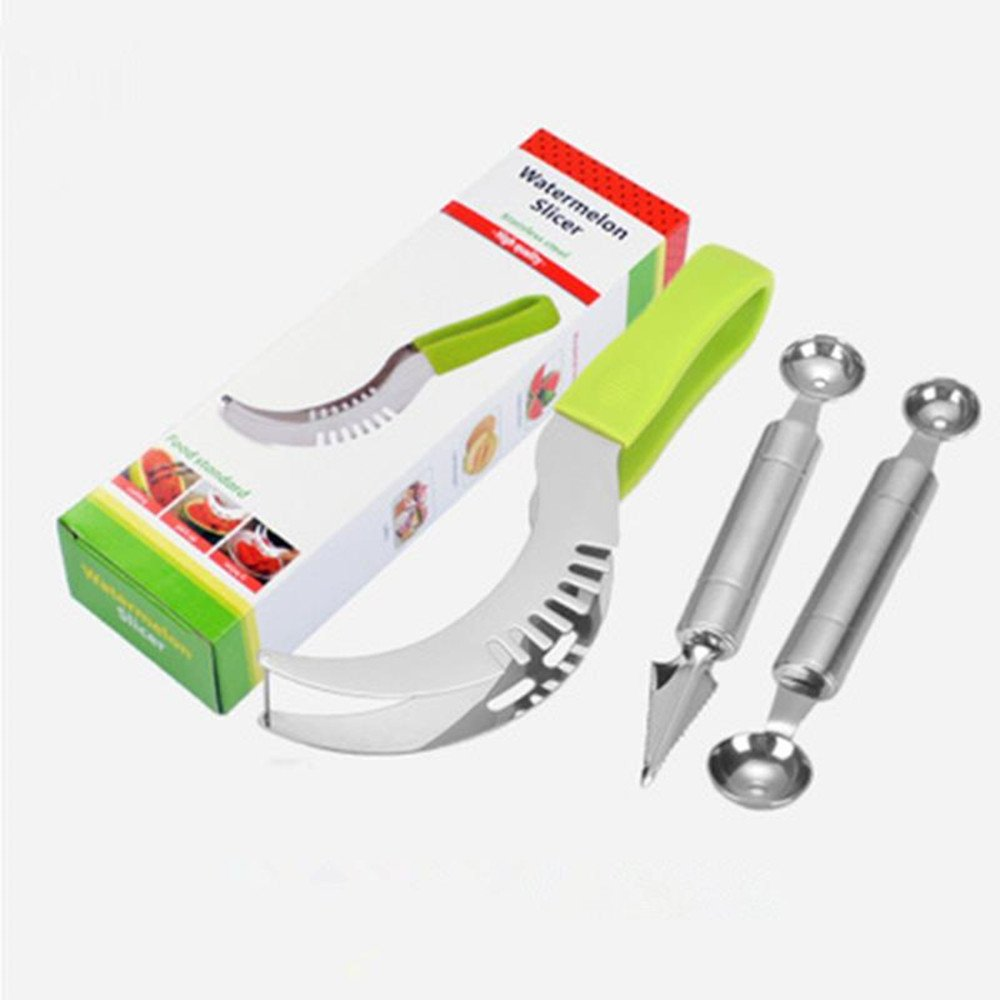 Watermelon Slicer Stainless Steel Cutter Set: Watermelon Slicing Tool, Fruit Carving Knife and Melon Baller Scoop for Salads & Desserts