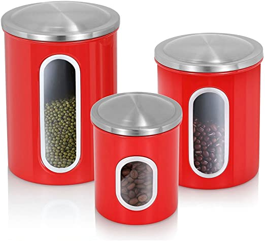 Airtight Canister Set of 3, Magdisc Nested Canisters Sets for the Kitchen  with Stainless Steel Lids and Windows, Red